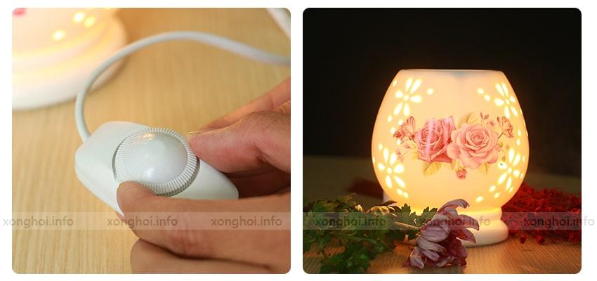 Bước 3: Nhỏ 3 - 4 giọt tinh dầu có mùi yêu thích lên dĩa đèn, nước sẽ làm lan tỏa mùi hương của tinh dầu.
